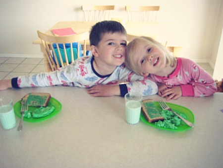 Kids Eating Green Food for St Patricks Day