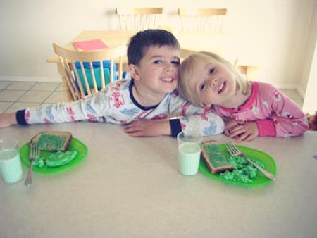 Kids Eating Green Food for St Patricks Day