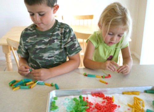 Kids Making Colored Pasta Necklaces