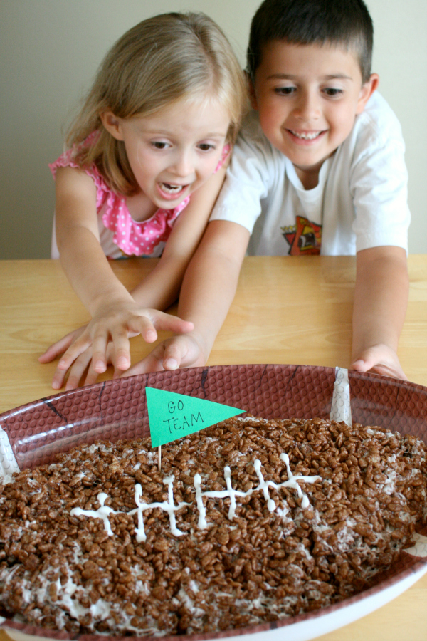 Kids Ready to Eat a Giant Rice Crispy Football