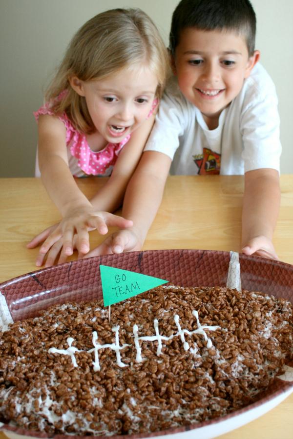 Kids Ready to Eat a Giant Rice Crispy Football