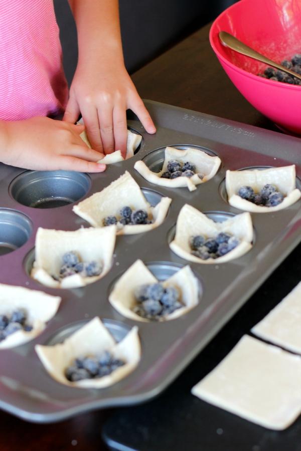 Kids in the Kitchen Make Mini Blueberry Tarts Muffin Tin