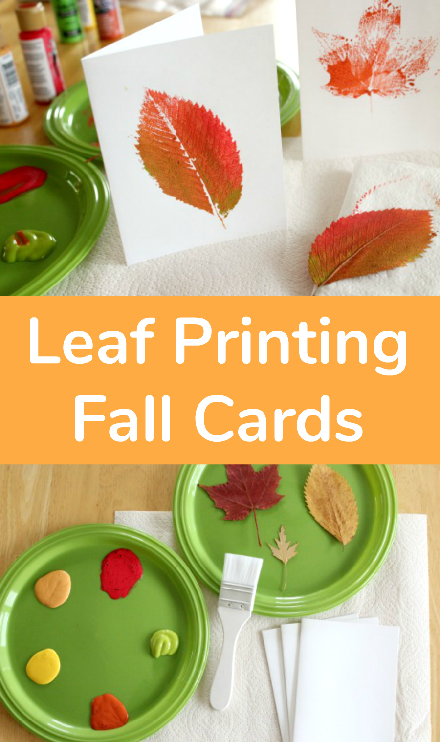 Leaf Printing Fall Cards