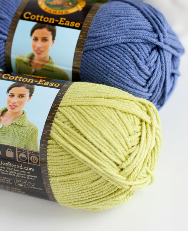 Lion Brand Yarn Lime and Violet Cotton-Ease Yarn
