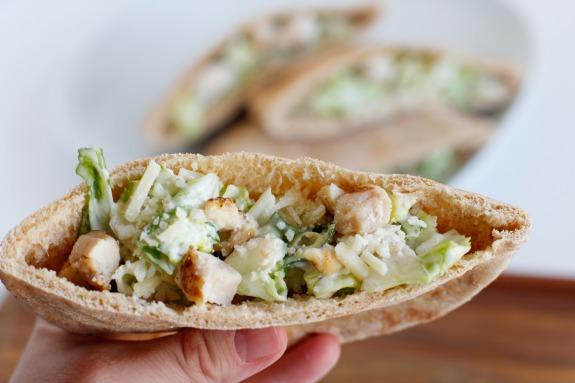 Make Chicken Caesar Pita Pockets for Dinner Tonight