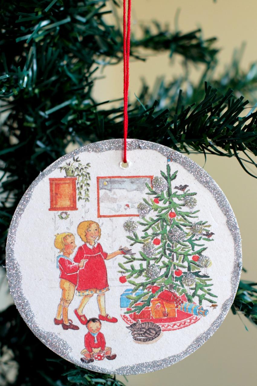 Make Coasters into Glitter Ornaments