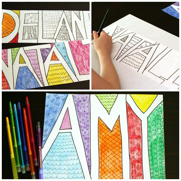 Make Colorful Doodle Names with Kids