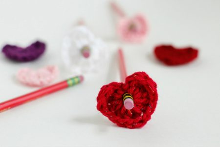 Make Crochet Hearts for Pencil Toppers