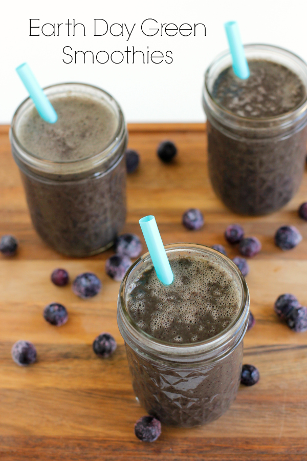 Make Earth Day Green and Blue Smoothies