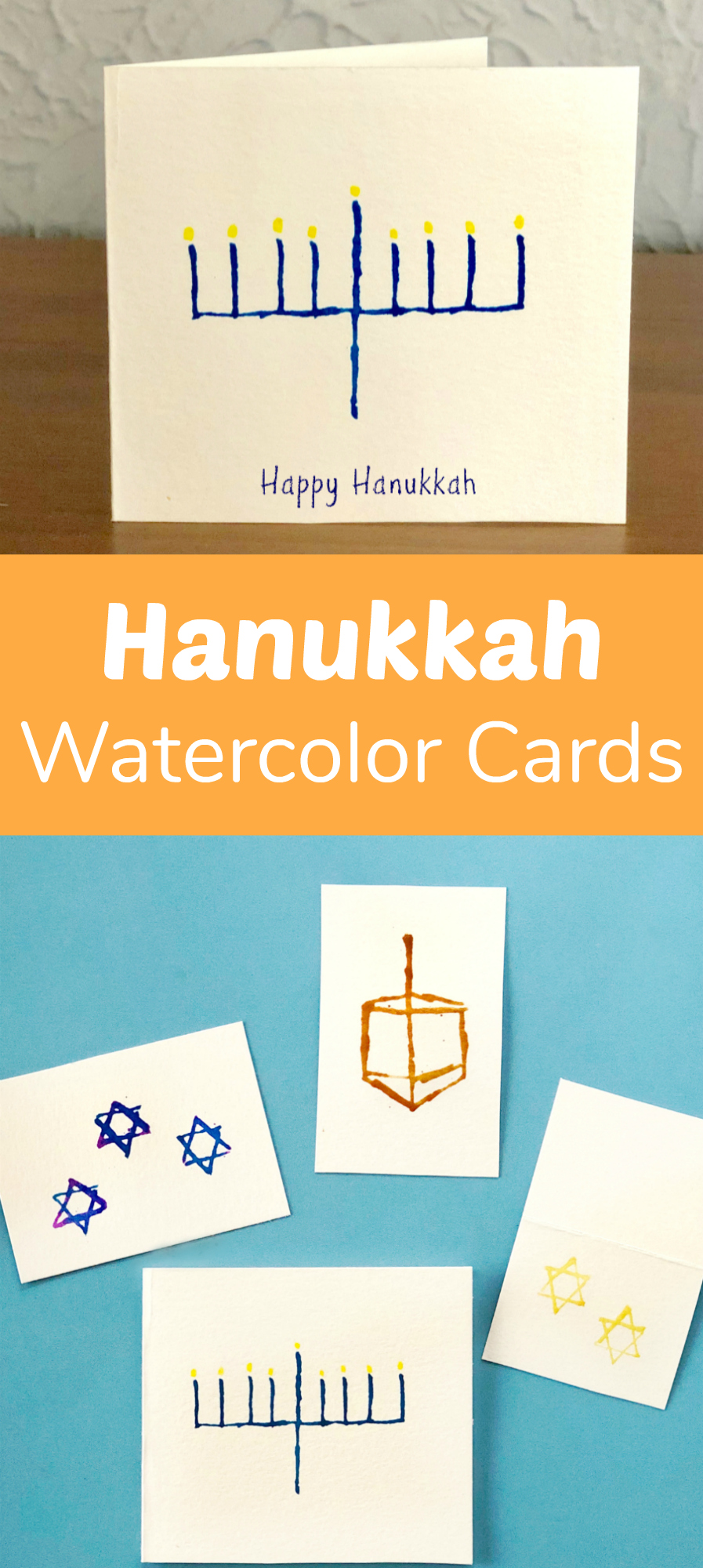 Make Hanukkah Watercolor Menorah Cards
