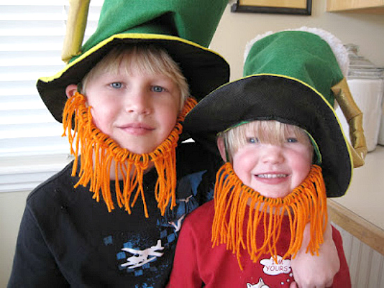 Make Leprechaun Beards from Pipe Cleaners and Yarn