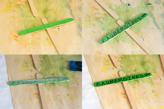 Make Plant Markers from Popsicle Sticks by Francine Clouden at Make & Takes-Aubergines