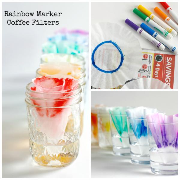 Make Rainbow Marker Coffee Filters Kids Craft