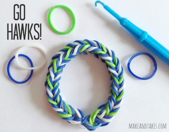 Make Seattle Seahawks Rainbow Loom Band Bracelets