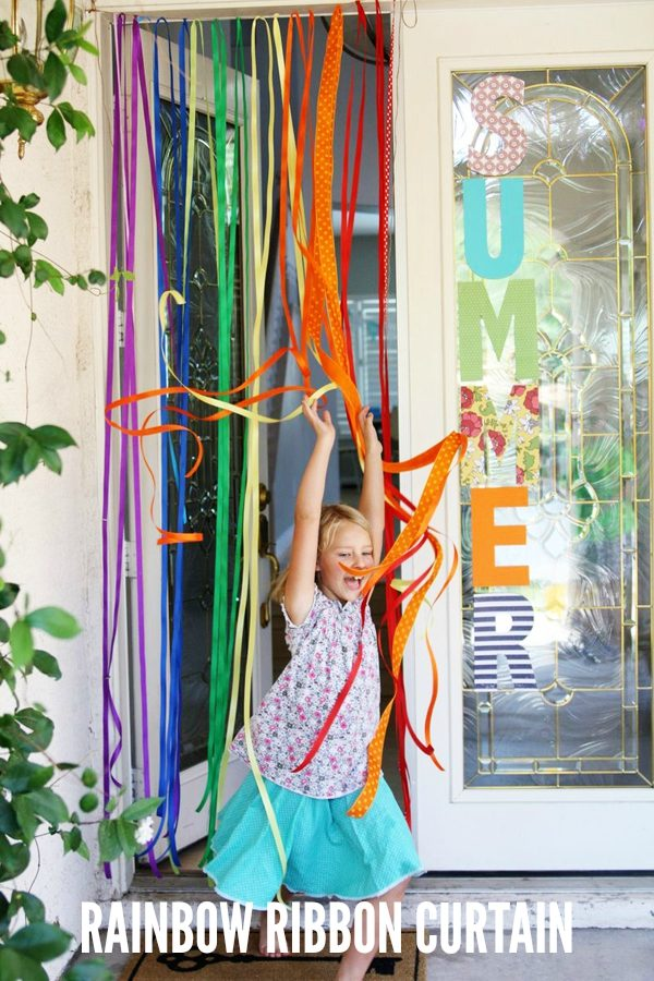 Make a Rainbow Ribbon Curtain for Kids Outdoor Play