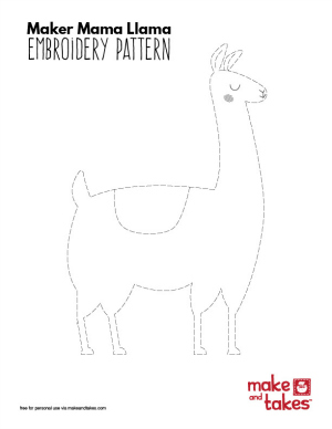 Maker Mama Llama Embroidery Pattern Small