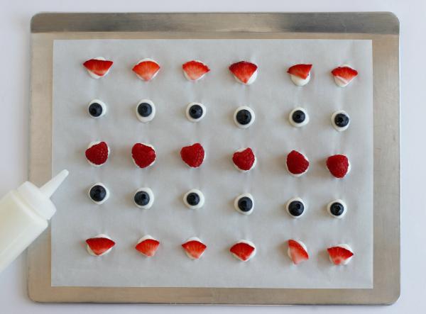 Making Bite-Sized Frozen Yogurt Fruit Dots