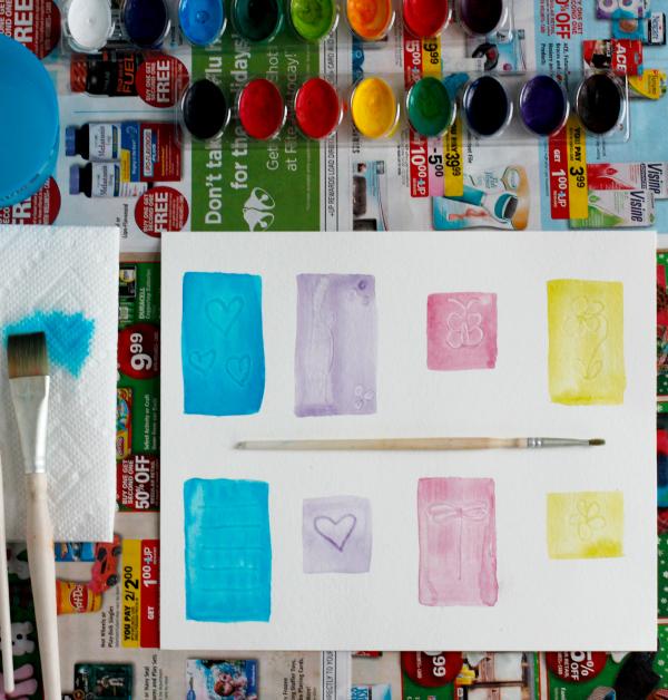 Making Brush Indent Watercolor Designs