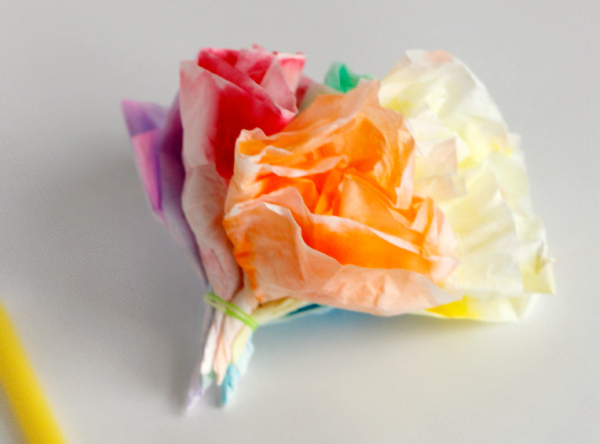 Making Coffee Filter Flower Bunches