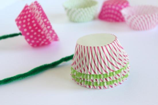 Making Cupcake Liner Flowers