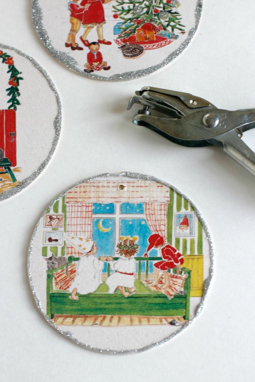 Making Glitter Coaster Ornaments