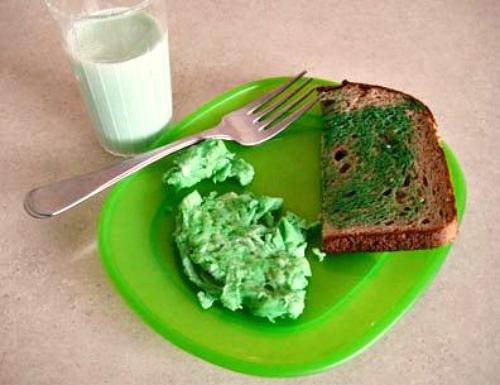 Making Green Eggs for St. Patricks Day