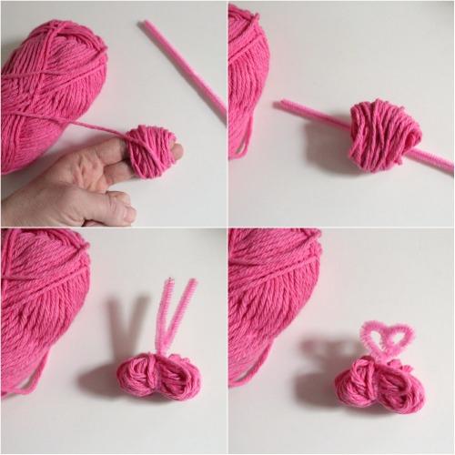 Making Pink Yarn Pom Poms makeandtakes.com