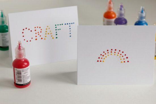 Puffy Paint Rainbow Cards