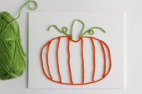 Making Pumpkin Yarn Art