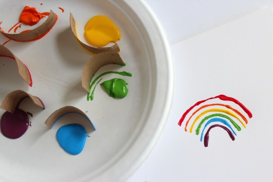 Making Rainbow Paper Tube Stamps