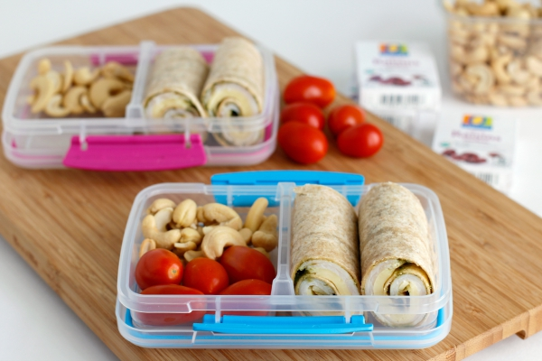 Making School Lunch Box Turkey Pesto Roll Ups