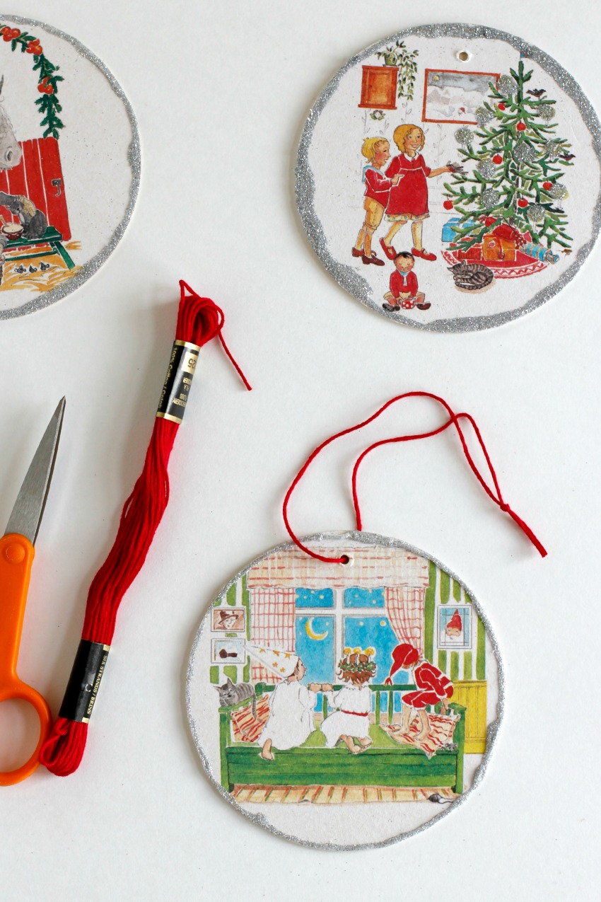 Making Vintage Glitter Coaster Ornaments for Christmas