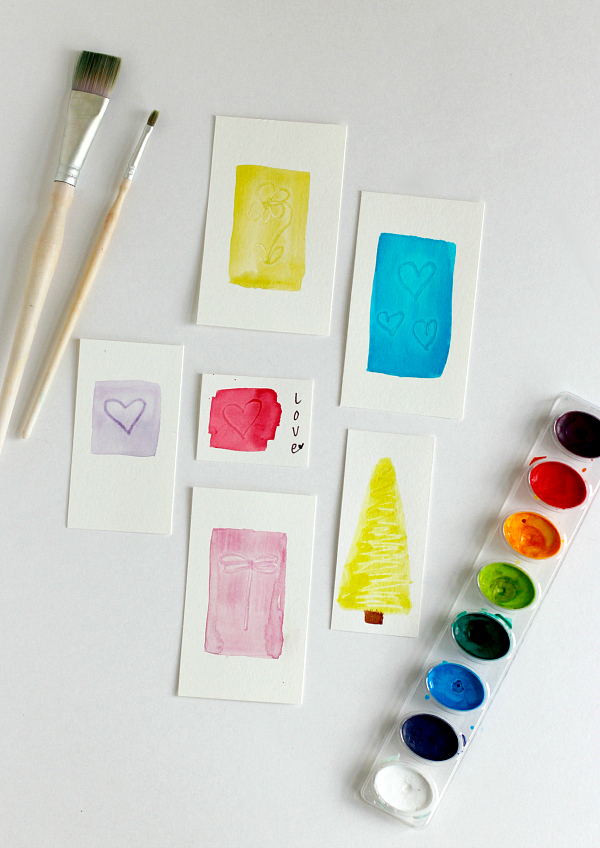 Making Watercolor Brush Indent Gift Tags