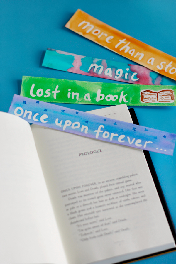 Watercolor bookmarks inspired by the book