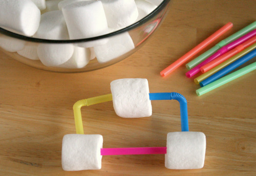 Marshmallow Straw Structures for Kids to Build