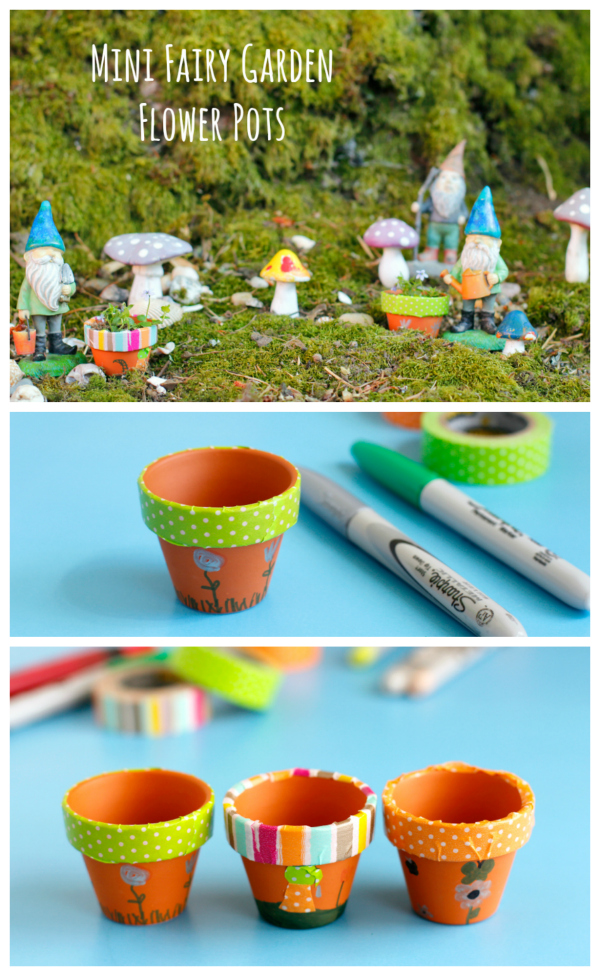 Mini Fairy Garden Flower Pots to Make