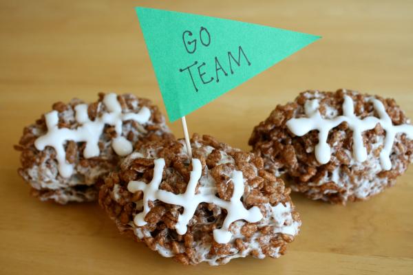 Mini Rice Crispy Footballs for Game Day