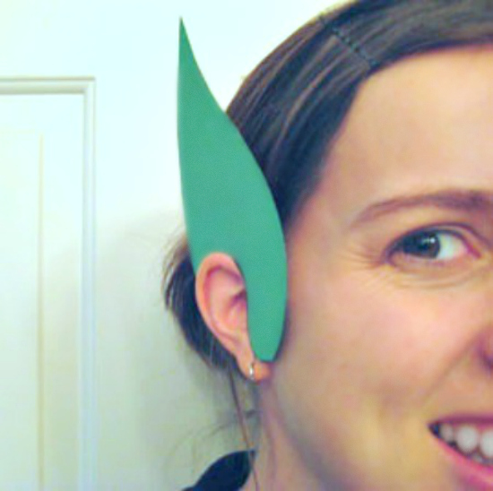 Mom Wearing Leprechaun Paper Ears