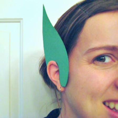 Mom Wearing Paper Leprechaun Ears