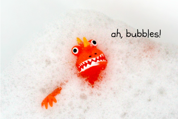Monster Toys in Homemade Bubble Bath
