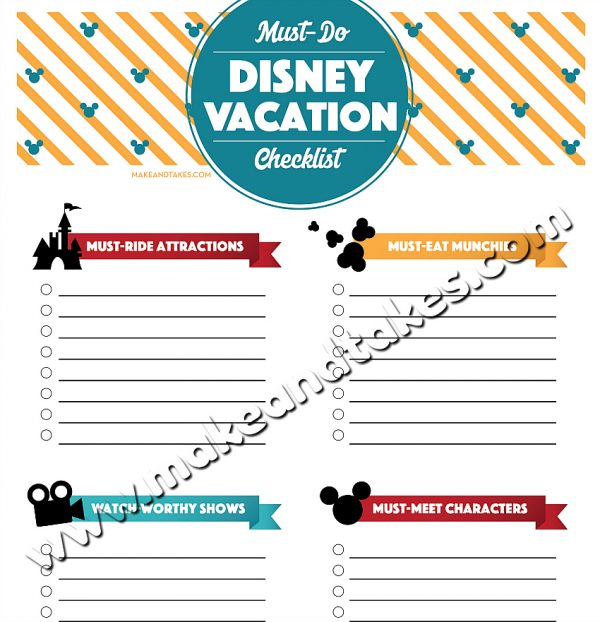 Must-Do Disney Vacation Free Printable Checklist