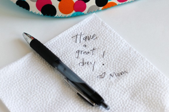 Napkin Love Notes for Kids at Lunch