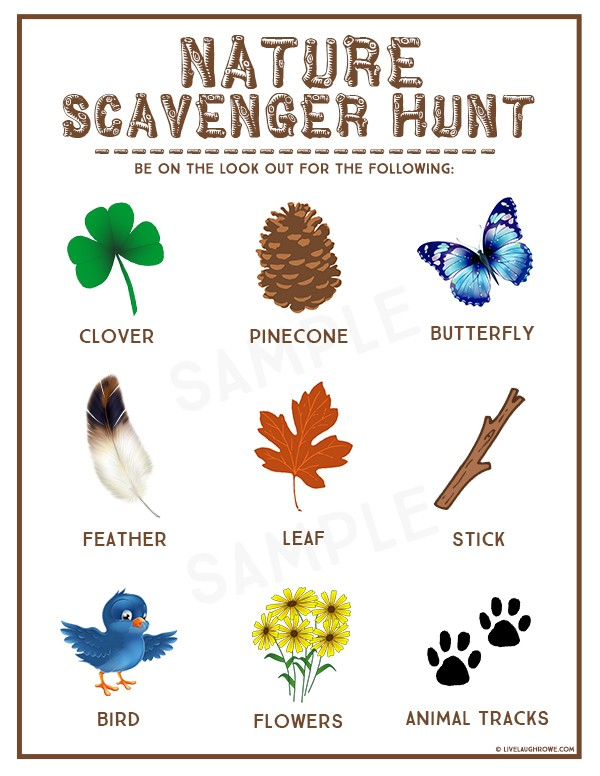 Nature Scavenger Hunt  Free Printable via Live Laugh Rowe