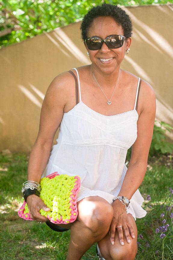 Neon Crochet Summer Clutch from T-shirt Yarn by Francine Clouden for Make and Takes