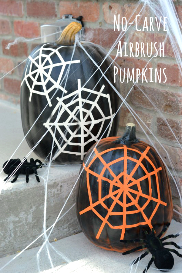 No-Carve Spider Web Pumpkins