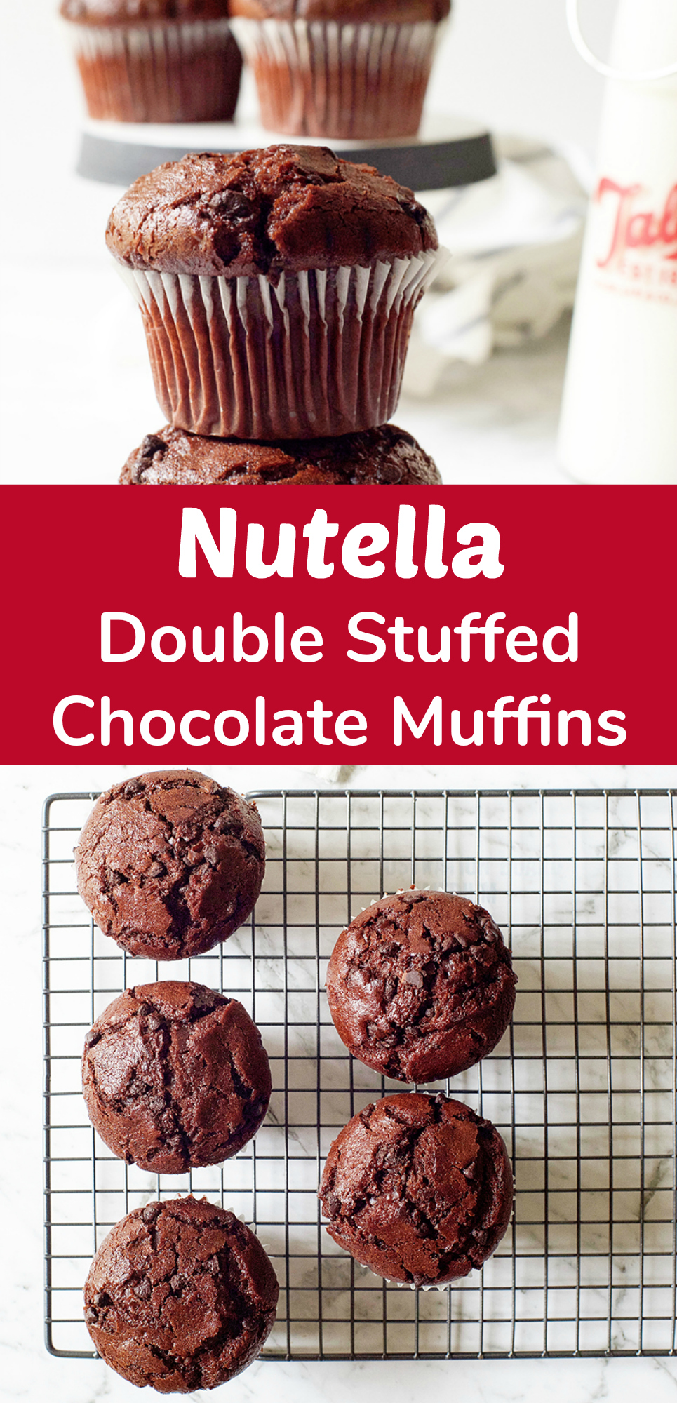 Nutella Stuffed Double Chocolate Muffins Recipe, YUM!