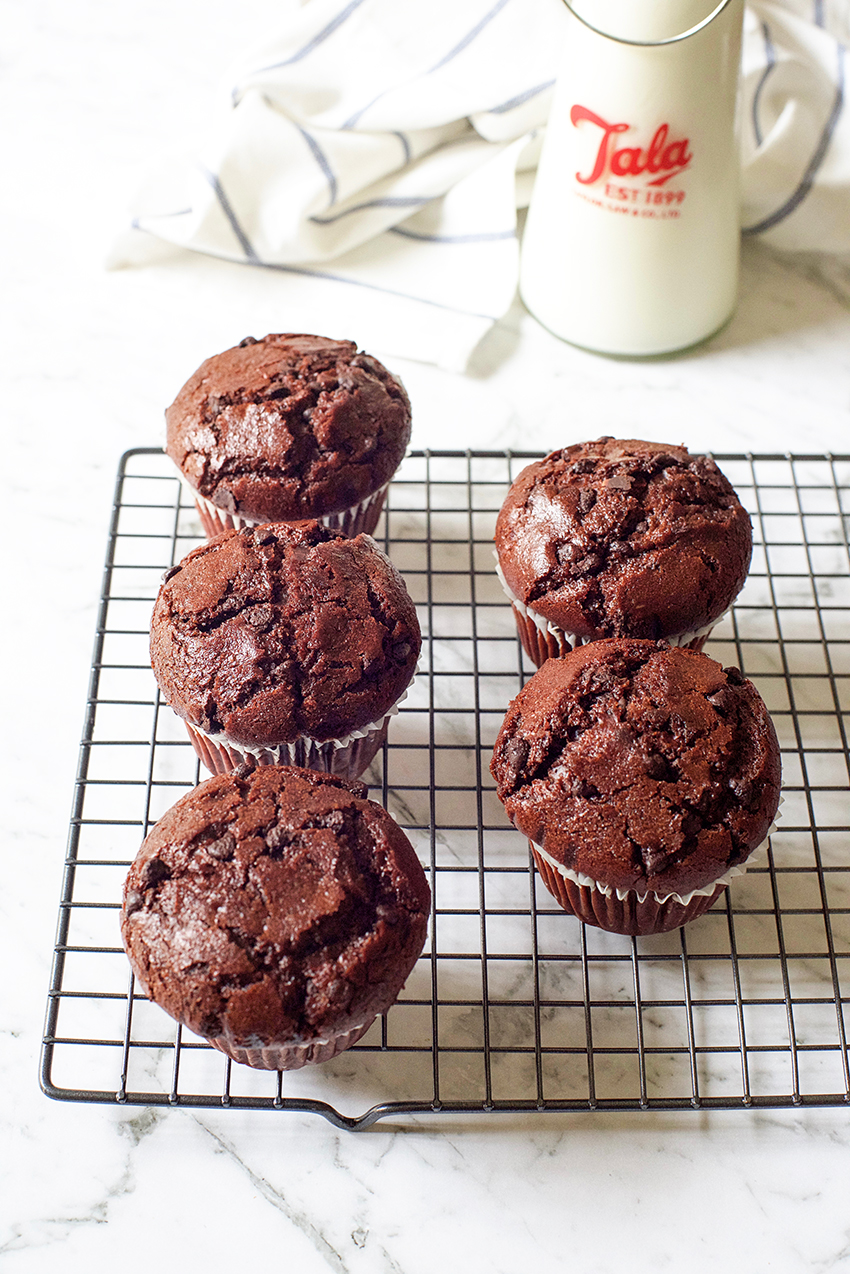 Nutella Stuffed Double Chocolate Muffins Recipe