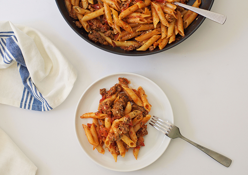 Simple One Pan Pasta with Sausage