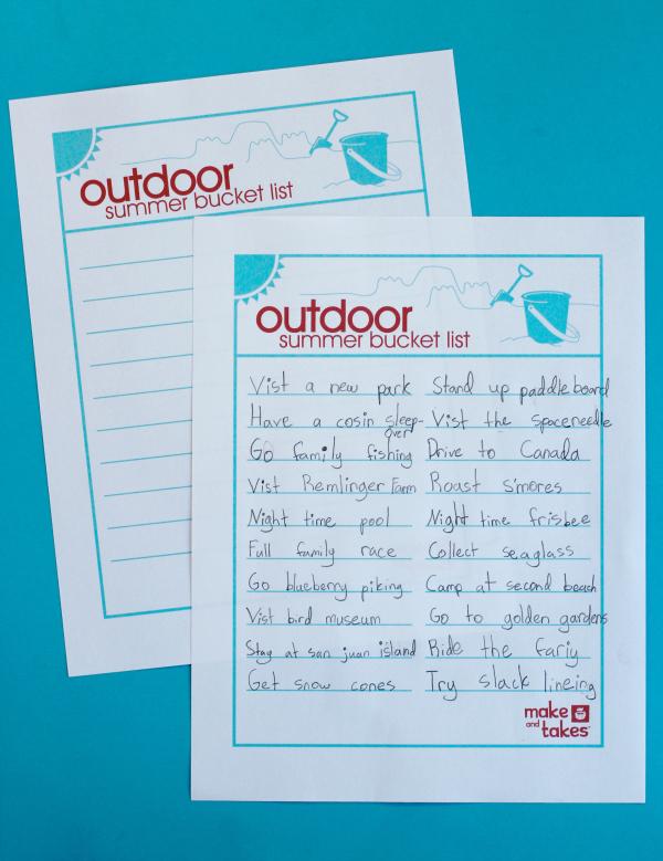 Outdoor Summer Bucket List Printable