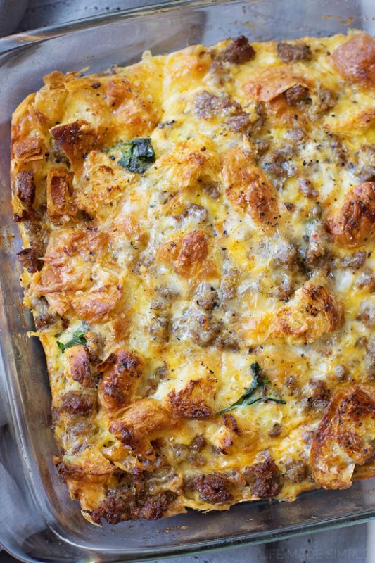 Overnight Sausage, Egg, and Croissant Breakfast Bake